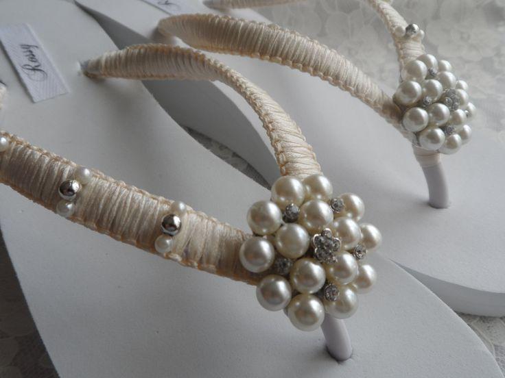 Wedge Bridal Flip Flops / Wedding Rhinestone & by RossyAccesorios, $48.99