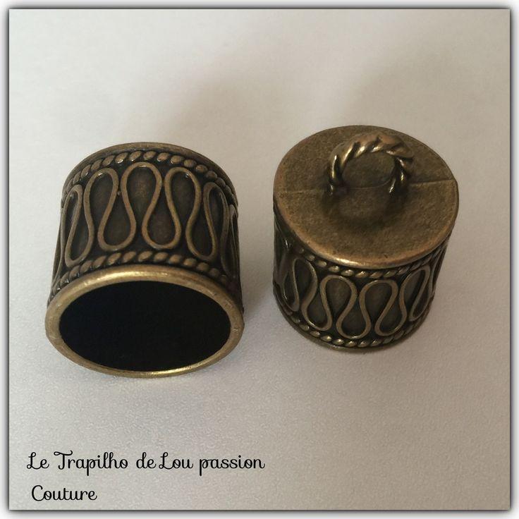 2 Gros embouts cache noeud couleur bronze 2X2CM : Apprêts par le-trapilho-de-lou-passion-couture