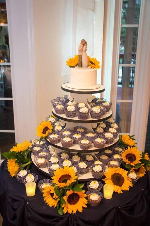 Sorby Sweets Cupcake Tower | Wedding Cupcakes | Cupcake Stand | Sunflower Wedding Cake | Blue Lace Liners | Cake Table