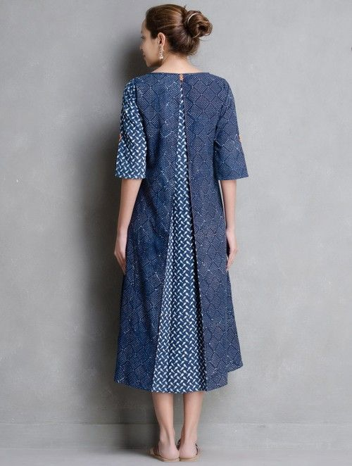 Indigo-Ivory Dabu Printed Button Detail Cotton Dress by Indian August