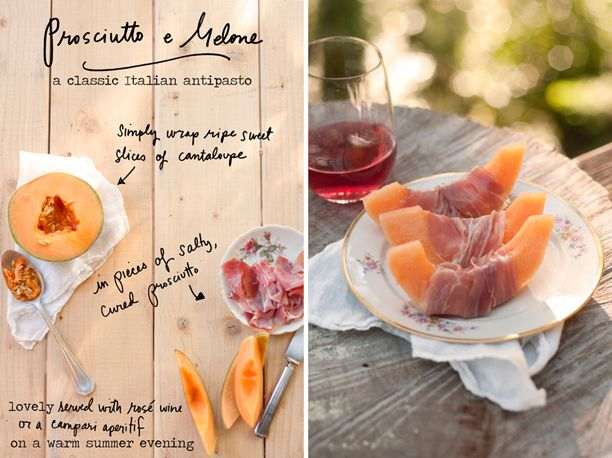Prosciutto e Melone (prosciutto and melon). It couldn't be simpler or tastier on a warm summer evening before dinner!  In Italy, the melon slices are cut large, as above, but for parties I like to prepare bite sized cubes of melon wrapped in prosciutto.