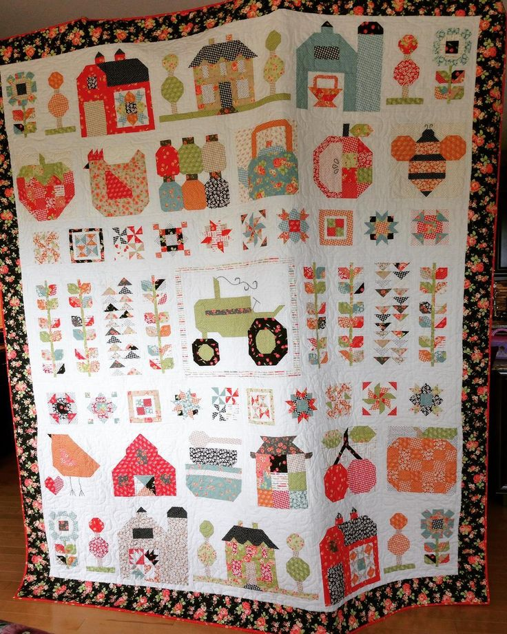 I'm so excited to finally share my #farmgirlvintage quilt! I made this quilt for my grandpa who turned 92 years old this year and has been a farmer all his life! These quilt block represent do many good memories of visiting and playing at the farm for me so thus is so special to me. The fabric was #farmhousefabric by @figtreeandco and was perfect for this quilt! All fabrics except for the backing are from @modafabrics. Thankyou @beelori1 for such wonderful patterns to make this quilt…