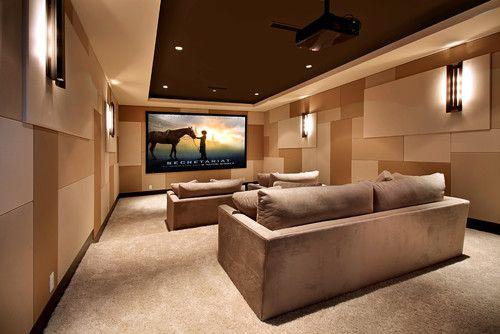 Simple Media Room. Mostly fabric walls. Snug Harbor - contemporary - media room - orange county - Brandon Architects, Inc.
