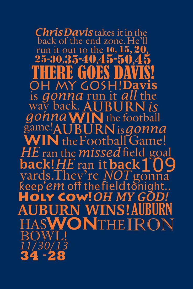 Auburn Canvas Iron Bowl Radio Call 2013 in 2020 War