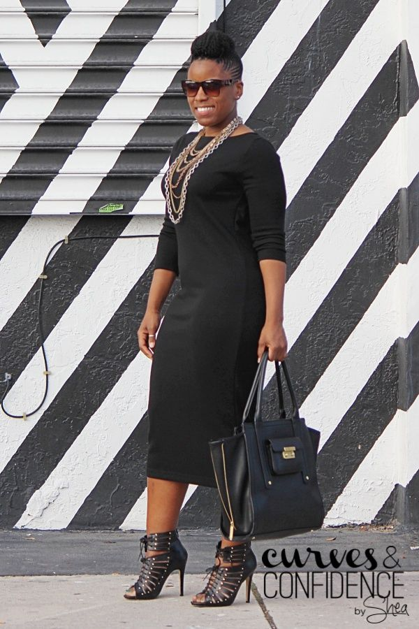 Black on Black | Black Fitted Midi Dress | Layered Necklaces | Ankle Booties | Work Outfit