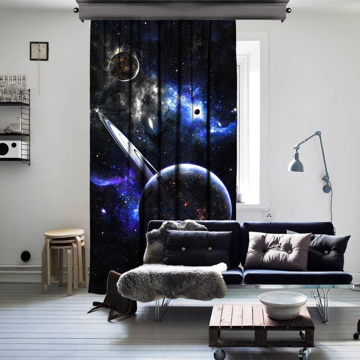 Fantazi Gezegenler Uzay Tek Kanat Perde - Fon Perdeler - Cipcici