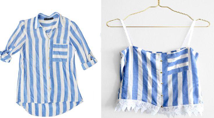 Como hacer un top sin costuras con una camisa 1