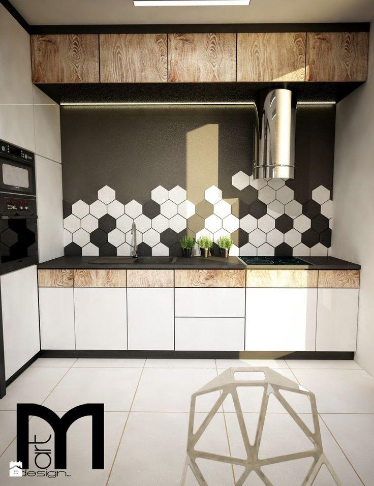 Mała otwarta kuchnia jednorzędowa w aneksie, styl nowoczesny - zdjęcie od Mart-Design Architektura Wnętrz