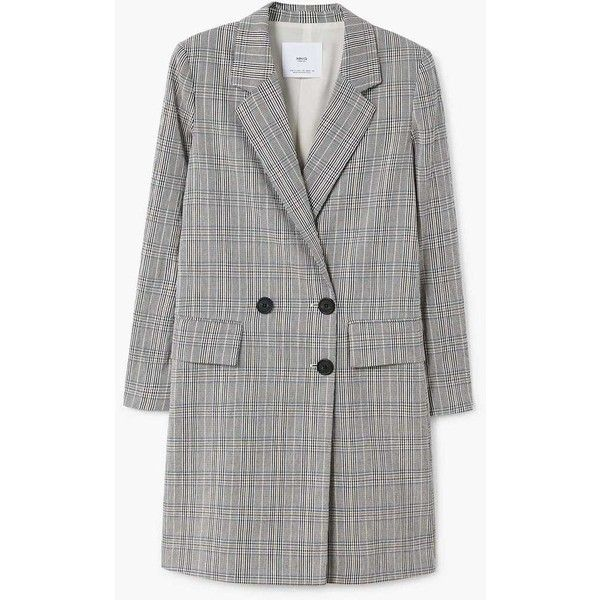 Checked Structured Coat (6.320 RUB) ❤ liked on Polyvore featuring outerwear, coats, fur-lined coats, mango coats, checked coat and checkered coat