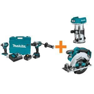 Makita holiday bundle (impact driver, hammer drill, circular saw and router with batteries and charging station)