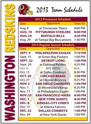 2013 Washington Redskins Football Schedule Magnet | eBay
