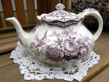 Crown Ducal Bristol Mulberry Transferware Teapot Tea Pot Made in England