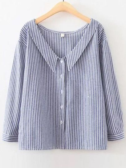 Blue Vertical Striped V Neck Button Up Blouse -SheIn(Sheinside) Mobile Site