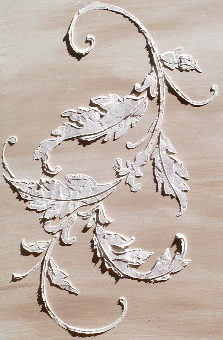Raised Plaster Acanthus Flourish Stencil A Beautiful - ceiling stencils for walls designs