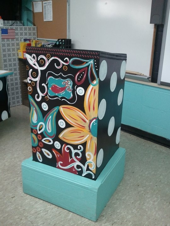 I want a podium like this for my classroom, just painted to match my room! Love the painting on this one though.