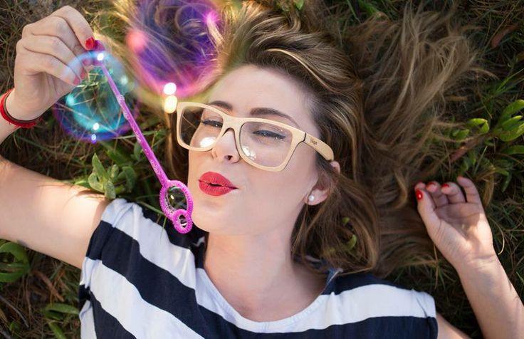 MODEL: Kate Tuttle. IG @ misskatetuttle Modelling for Blique handmade timber eyeware. Image by Beau Worrall. Bubbles, stripes, succulents, spectacles, red lips, cute.