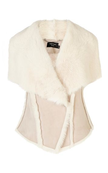DRAPED-FRONT SHEARLING GILET