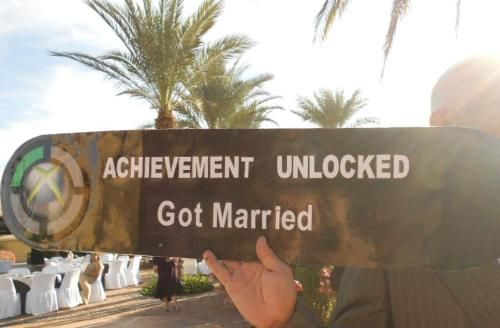 "This would be cute for wedding photos, but I would change the achievement to ""Happily Ever After"" or ""Found the One."""