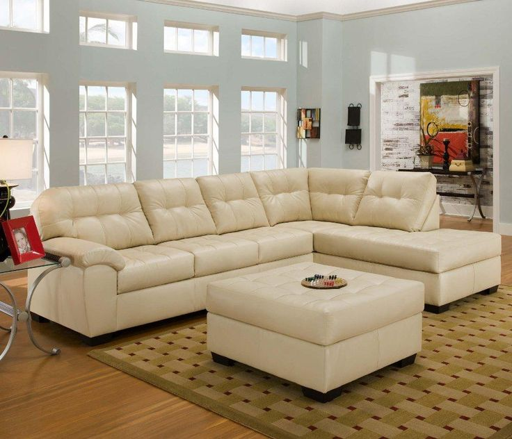 2 Piece Natural Ivory Sectional With Ottoman