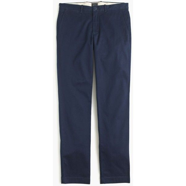 J.Crew Stretch Chino In 770 Fit ($75) via Polyvore featuring men's fashion, men's clothing, men's pants, men's casual pants, mens slim fit chino pants, mens elastic waist pants, mens slim fit pants, mens stretch pants and mens zipper pants
