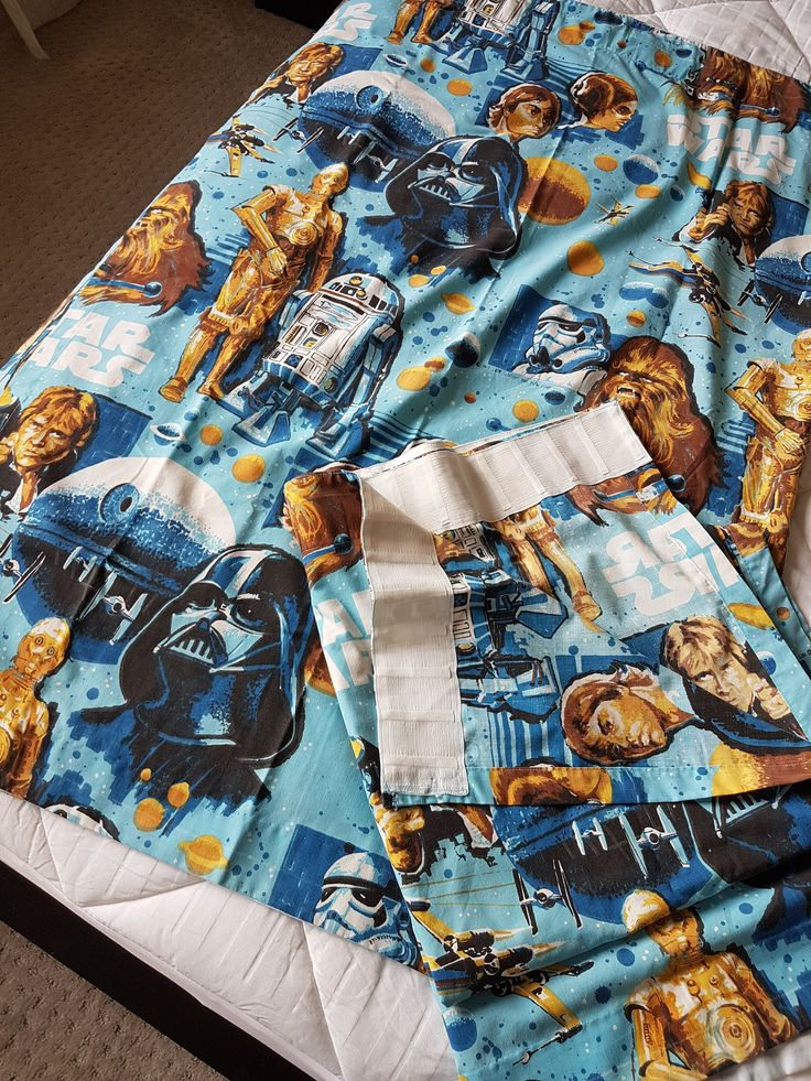 1977 Star Wars, Two Curtain Panels, Star Wars Memorabilia,  George Lucas Film Curtains, Collectible, Star Wars Fabric, Pair, Characters, 70s by HoardingSisters on Etsy