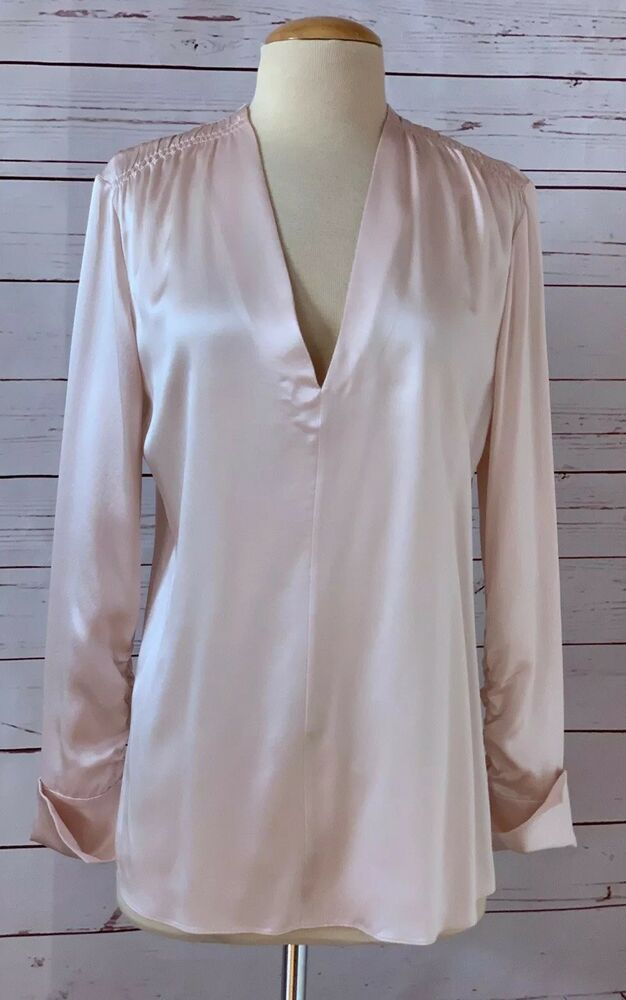 799b5a85cbe48f LEWIT Size M Satin Ruched Silk Tunic Top Blouse Pink Career Work MSRP  279   Lewit  Blouse