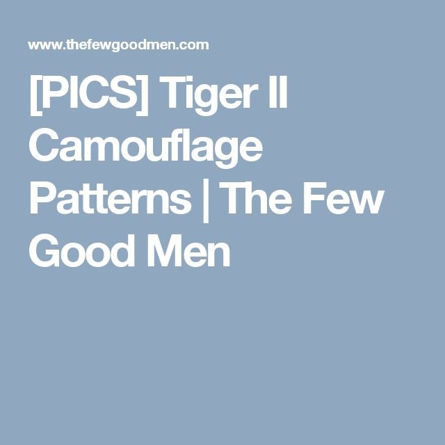 [PICS] Tiger II Camouflage Patterns | The Few Good Men