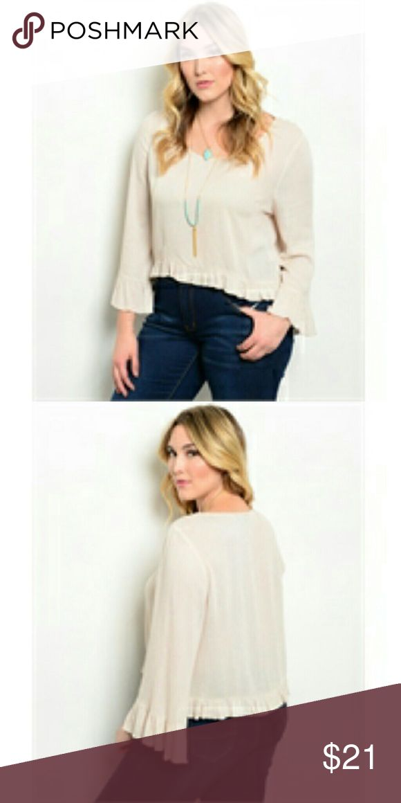 """Curvy Boho Beige Top Boho cream beige long sleeve top, scooped neckline and frilly trimmed hem. NWT Country: CHINA Fabric Content: 100% RAYON Size Scale: 1XL-2XL-3XL Description: L: 19"""" B: 23"""" W: 23"""" BohoBeauRoseBoutique Tops Blouses"""