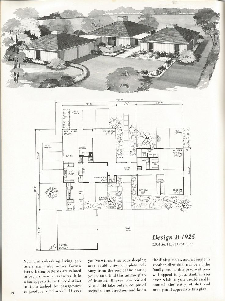 Vintage house plans mid century homes 1960s homes for Vintage floor plans