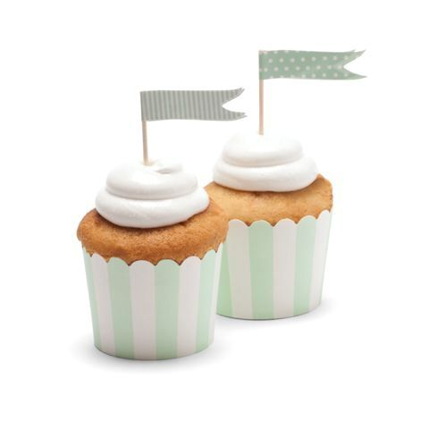 Lush minty green goodness!  Our cupcake baking cups in mint stripe.