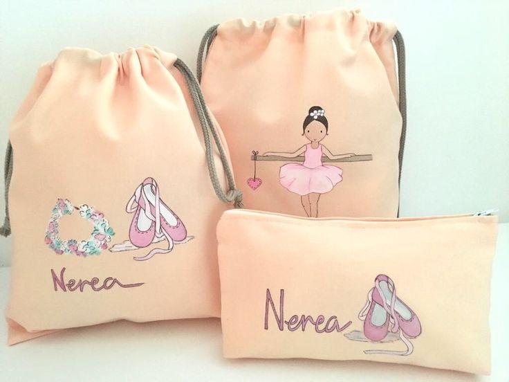 Bonito conjunto para las clases de danza de Nerea. Bolsa para las zapatillas, mochila y neceser #ballet #regalosoriginales #detallesbonitos #handmade