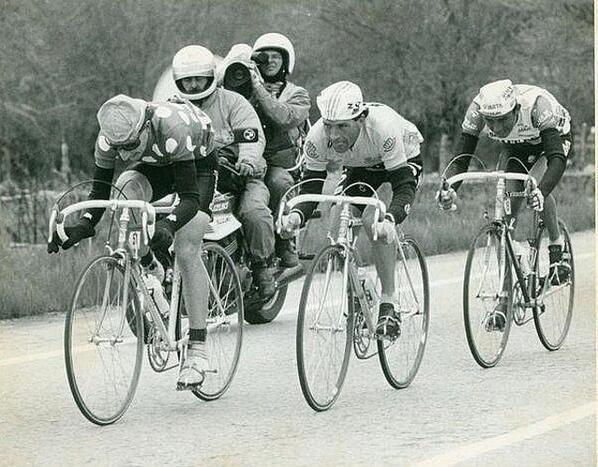 Fabio Parra en una escapada de La Vuelta a España 1986, junto a Millar y Álvaro Pino