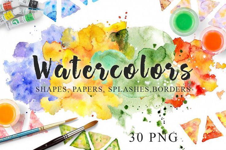 Watercolor Texture Clipart Watercolor background Hand drawn Watercolor clipart Digital paper Watercolor splash Blot Drop Scrapbooking PNG example image