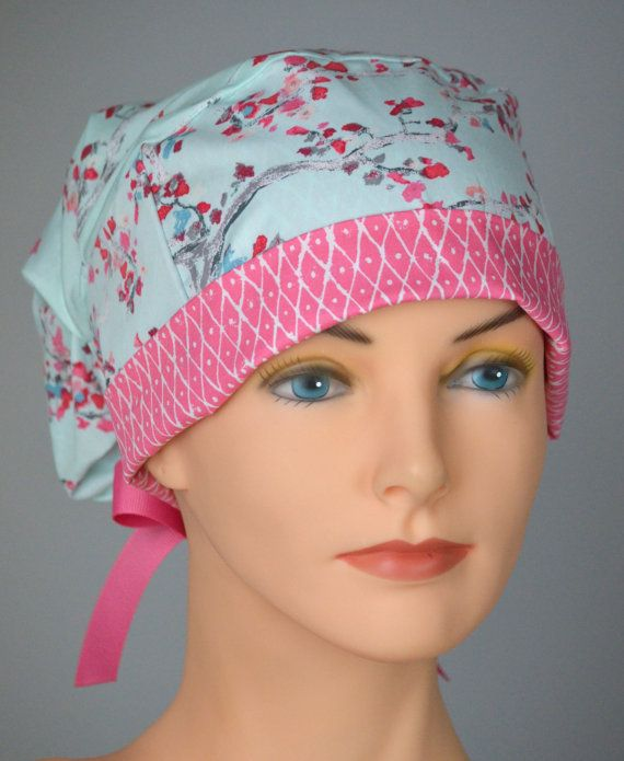 Large Surgical Scrub Cap or Cancer Hat Perfect by thehatcottage