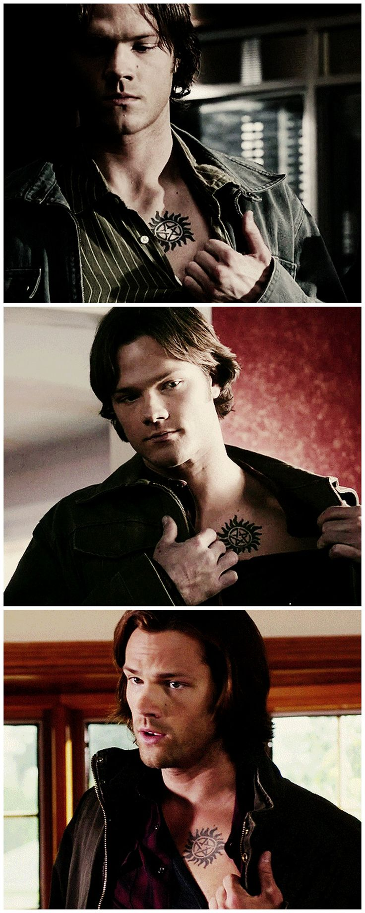 [gifset] Sammy reluctantly showing his tattoo to other people. 3x12Jus In Bello, 4x18 The Monster At The End Of The Book, 8x02 What's Up, Tiger Mommy? #SPN #Sam