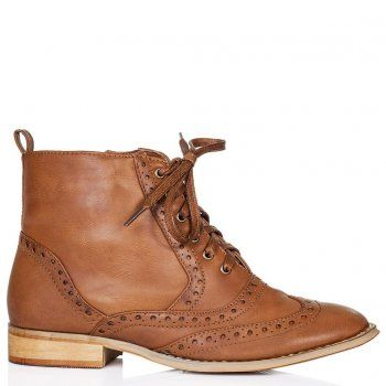 Dolcis MUNICH Lace Up Brogue Ankle Boots Shoes - Tan Leather Style