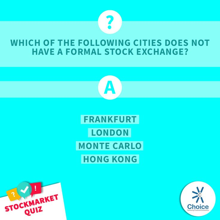 #ChoiceBroking #StockMarketQuiz - Which of the following cities does NOT have a formal stock exchange? a) Frankfurt b) London c) Monte Carlo d) Hong Kong