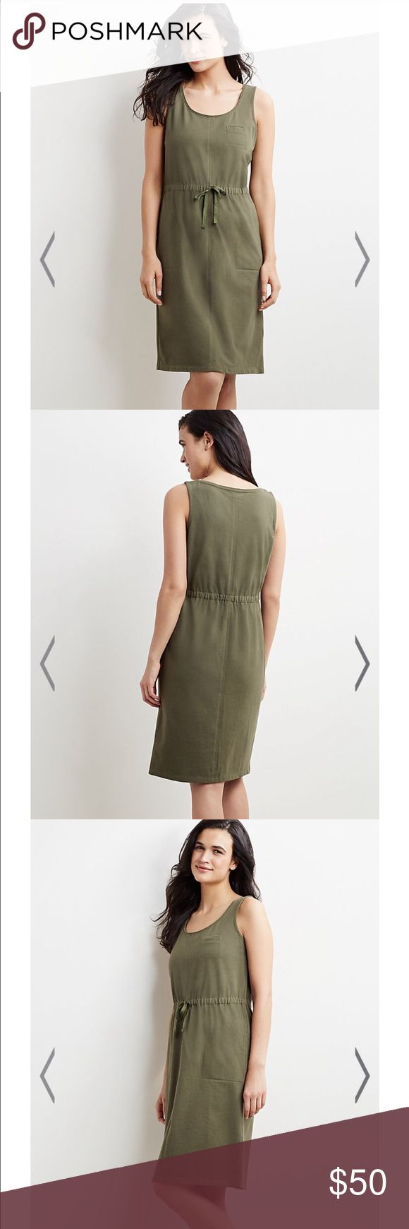 J. Jill Army Green Safari Knit Dress w/ Pockets Lightly worn. Pockets. Drawstring waist. This size is sold out online. J. Jill Dresses