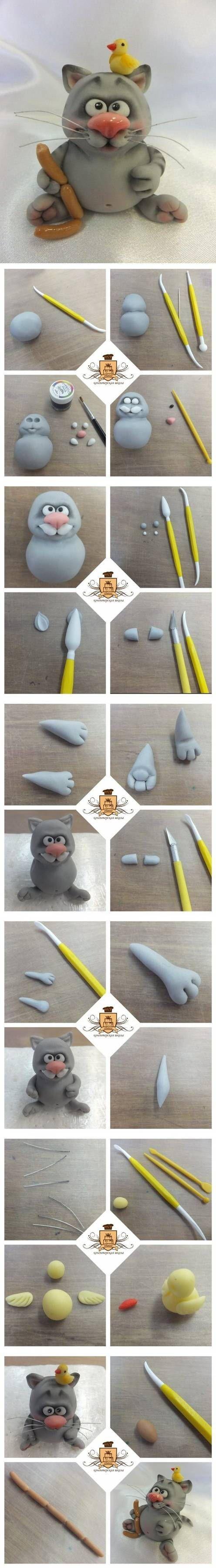 DIY Polymer Clay Cute Cat DIY Projects | UsefulDIY.com Follow Us on Facebook ==> http://www.facebook.com/UsefulDiy