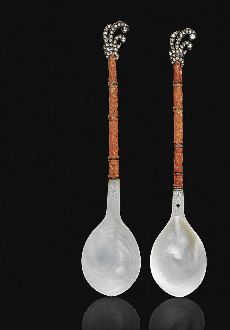A Pair of Diamond-Set Mother-of-Pearl and Coral Spoons, Turkey, 18th/19th century