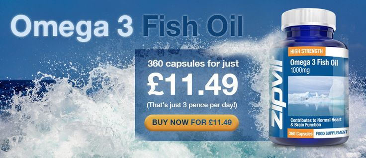Enriched with EPA & DHA, the 1000mg Omega 3 Fish Oils can support the blood pressure and normal brain functioning. Priced at £11.49, this product comes with 360 capsules.  http://www.voucherish.co.uk/stores/zipvit/