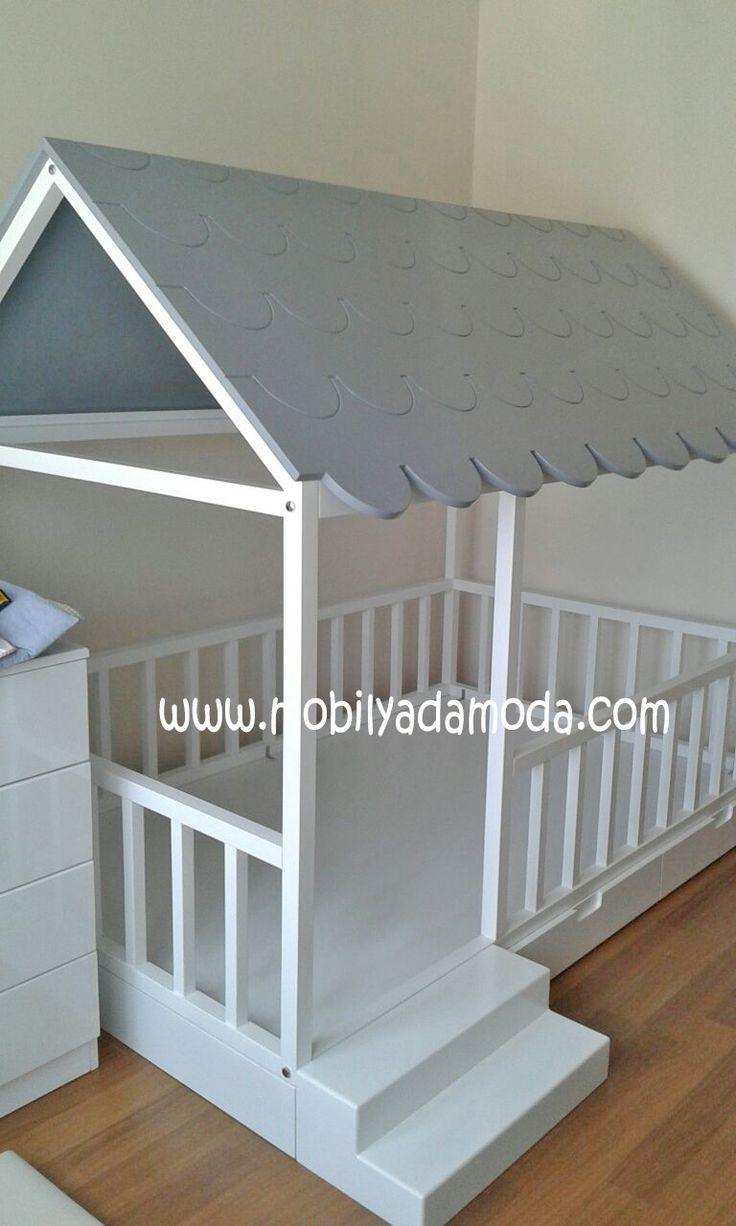 Çatısı Shingle Altı Çekmeceli Basamaklı Montessori Yer Yatağı