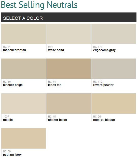 Best selling neutrals (Benjamin Moore)