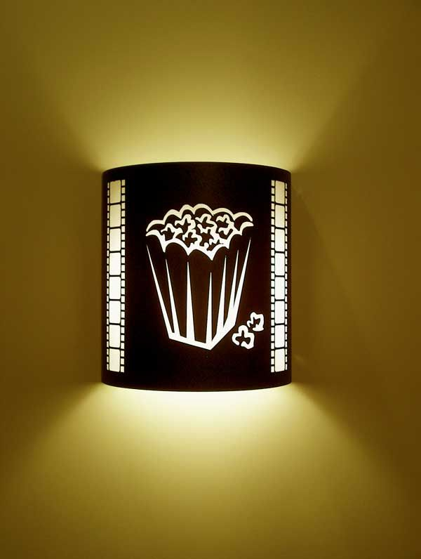 Popcorn Theater Sconce (with filmstrip) - oh this is cool for a theatre room!