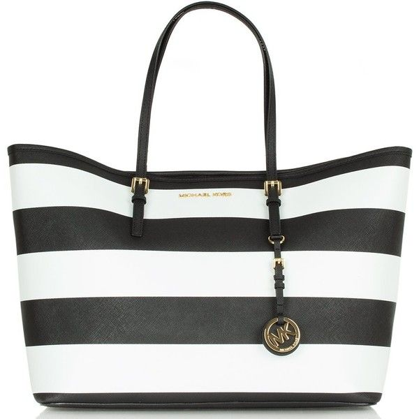 Michael Kors Jetset Travel Stripe Black/White Tote Bag and other apparel, accessories and trends. Browse and shop 8 related looks.