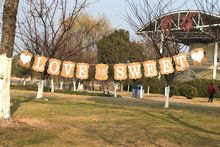 NEW Kraft paper Burlap Garland Bunting Banner with LOVE IS SWEET Flag Photo Booth Props Party Wedding Decoration Prop Banner(China (Mainland))