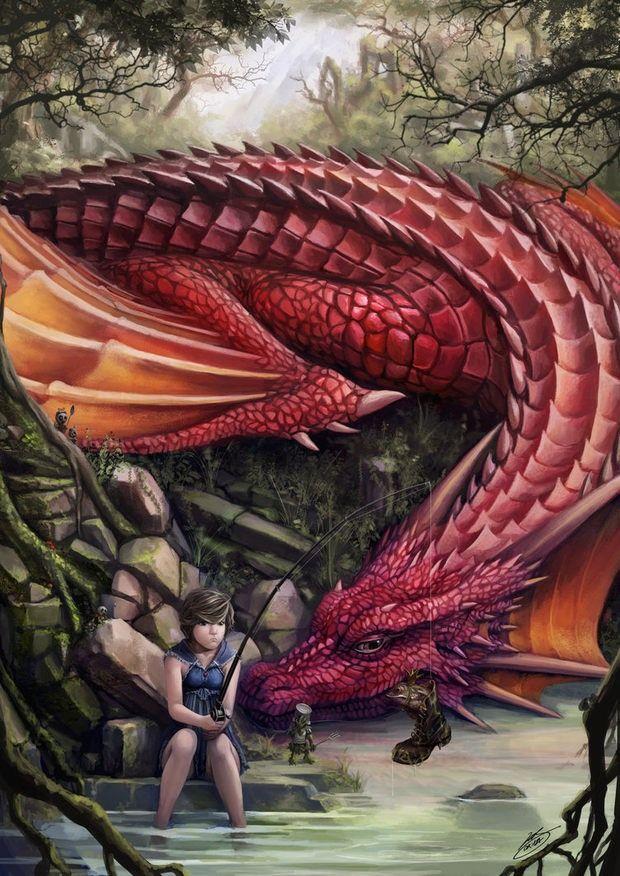 Dragon and child fishing - Amazing Concept Art Leos Ng
