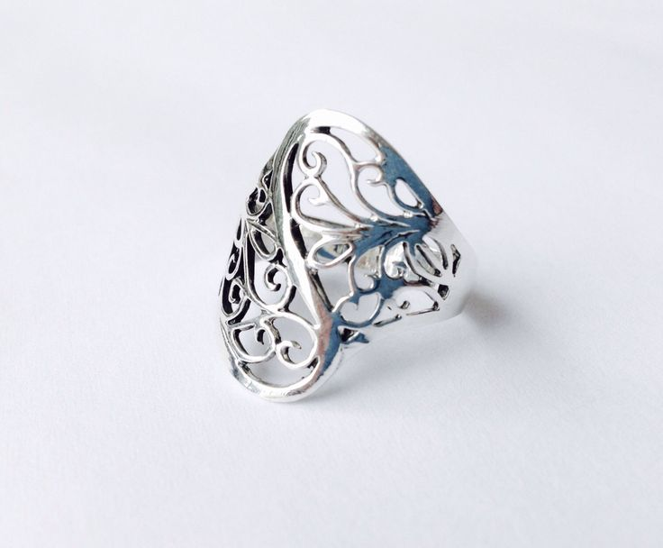My new lace ring https://www.etsy.com/listing/484362572/lace-scroll-ring-statement-silver-ring  #lacering #filigree
