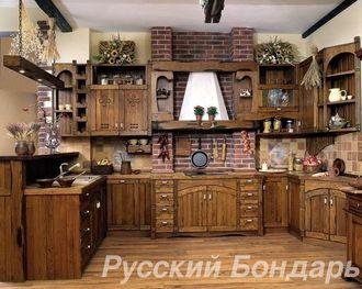 Кухня из массива сосны состаренная