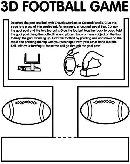 Get the kids pumped for the big game this year with this fun 3D Football Game they can color. | free printable coloring pages